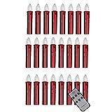 LED Baumkerzen rot lose mit Fernbedienung Ø 15 mm passend für Klassische Baumkerzenhalter für Weihnachtsbaum, LED Kerzen:24er Set