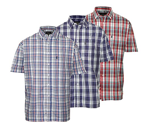 3 Champion Country Style Casual Hemd Kurzarm Check Mehrfarbig - 1 x Blue 1 x Red 1 x Turquoise Checks