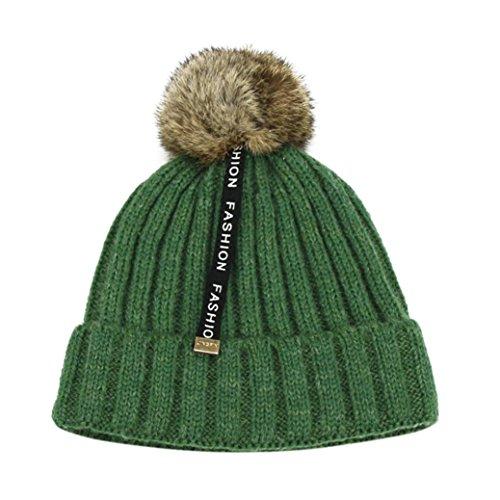 FEITONG Baby Hüte Jungen Mädchen Baumwolle Gestrickte Mütze Ball Dekor Warme Hüte (50-54cm/2-8 Jahre, (Kostüm Trenchcoat Grüner)