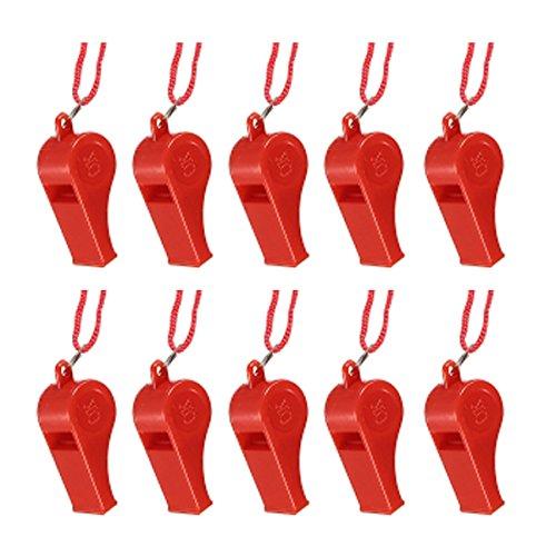 KINGSO 10pcs Sifflet Sport Arbitre Plastique Multicolore Randonnée Loisir Football Activités Rouge