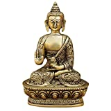Statue Bouddha Statuette Boudha assis Figurines de collection laiton Decor 13,97 x 10,16 cm