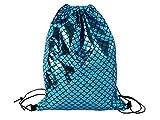 Alsino Fischschuppen Turnbeutel Beutel Sportbeutel 42 x 34 cm Metallic Verschließbar Widerstandsfähig, Variante wählen:02/5036 blau