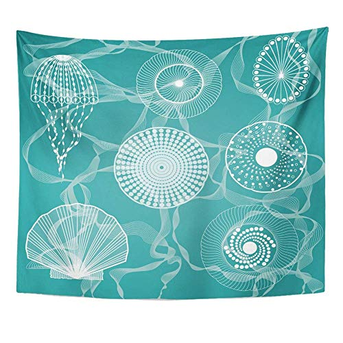 Liumiang Wandteppiche Wall Hanging Exotic Blue Life Sea Creatures Colorful Fish Star Drawing Line Shell Marine Symbol Tablecloth Tapestry for Bedroom Living Room Dorm 50x60 Inches Wall Art Custom