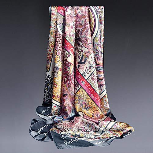 Chengfang Seidenschal Damen 100% Reiner Seide hypoallergen Nackenschutz Mode Schal, 108 * 108cm,SCWJ-05 -