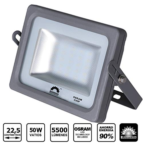 Foco LED Exterior MERCURY Gris · Proyector LED Extraplano 50W con Chip...