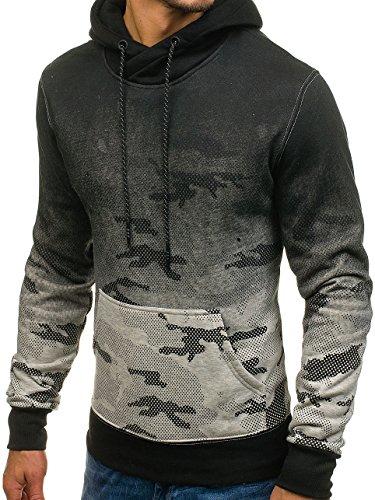 BOLF Herren Pullover mit Kapuze Sweatshirt Langarmshirt Sweatjacke Militär  Army Camo Muster 1A1 Grau DD132-1 ... b8645f239e