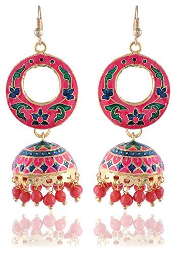 Sinjara Pink Meenakari Jaipur Meena Work Jhumki & Jhumkas Earrings for Women Party Wear Designer Stylish Earrings For Girls (E-12)  available at amazon for Rs.299