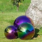 CIM Dekokugel aus Edelstahl - Dekokugel Rainbow Ø 15 cm - Leichte Hohlkugel, Gartenkugel, Schwimmkugel - Hochglanzpolierte Oberfläche mit dauerhaft spiegelndem Glanz