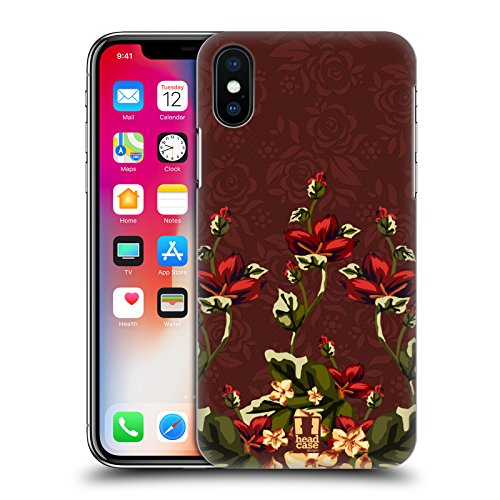 Head Case Designs Rosa E Verde Floreale Art Deco Floreale Cover Retro Rigida per Apple iPhone X Marsala E Rosso Floreale