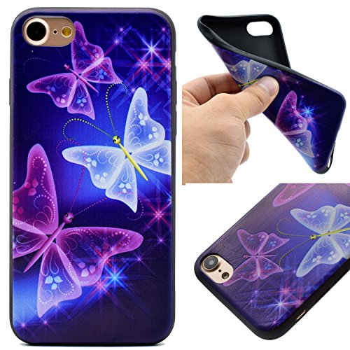 Voguecase® für Apple iPhone 7 Plus 5.5 hülle, Schutzhülle / Case / Cover / Hülle / TPU Gel Skin (Schwarz/mad here) + Gratis Universal Eingabestift glühen Schmetterling