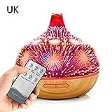lailongp 400 ml 3D Bunte Feuerwerk Liebe Cartoon Vase Luftbefeuchter, Luftaroma Luftreiniger Mit 7 Farben Led-leuchten Elektrische Aromatherapie Ätherisches Öl Aroma Diffusor, UK Stecker