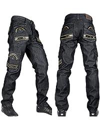 Peviani Hommes Combat G Jeans, Club Cargo Rock-Star Hip Hop Sh Noir Pantalon Jeans
