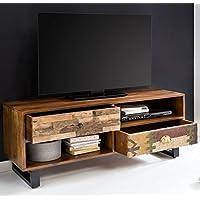 FineBuy TV Lowboard KANPUR 120 X 47 X 40 Cm Massiv Holz HiFi Regal Mango  Natur
