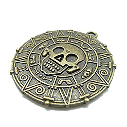 3 40 mm Antik Bronze Lovely Dick rund Totenkopf Pirate Gold Münze Charm Anhänger c1672 -