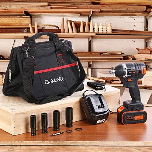 GOXAWEE Akku Schlagschrauber 20 Volt / 4 Ah Akku, max. 300 Nm, bürstenlos, mit Werkzeugkoffer - 9