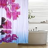Cortina de ducha para baño con 12 ganchos Impermeable PEVA Impresión 3D Digitaces 180 X 180cm (Piedras)
