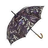 MARY SAM'S Designer Regenschirm für Damen und Herren | Regenschirm Blumen Blätter grün lila bunt Vintage | Regenschirm leicht automatik groß stabil sturmfest Fiberglas Stockschirm Holzgriff