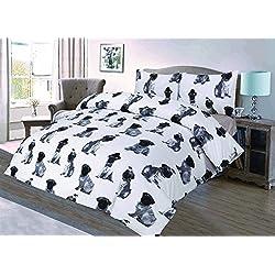 Love2Sleep–Sábana de algodón blanco y negro juego de funda de edredón y funda de almohada de impresión: Tamaño Super King Graphic–Perros