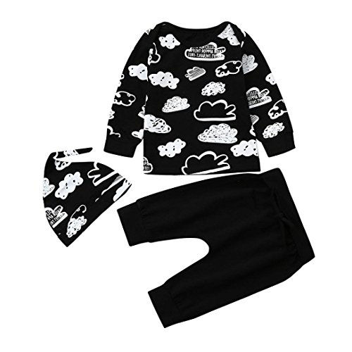 Baby Winter Kleidung Outfits für 3–18 Monate mingfa Unisex Neugeborene Infant Cloud Print Lange Ärmel T Shirt Tops + Pants + Hat Set, 3M, Schwarz, ()