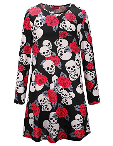 Womens Long Sleeves Schädel Rose Print Halloween Kleid Flared Swing Kleid
