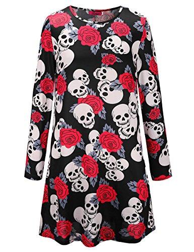 Womens Long Sleeves Schädel Rose Print Halloween Kleid Flared Swing (Lady Scary Halloween Kostüme)