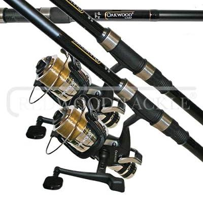 Oakwood 2 X CARP STALKER FISHING RODS 6FT & 2 B,T,R COARSE FISHING REELS + LINE