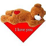 TE-Trend XXL Riesenteddy Kuschel Geschenk Teddybär Kuscheltier Plüsch Teddy braun 100 cm liegend mit Herz und Tuch I love you