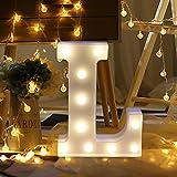 Erthome - Lumière LED en forme de « L » - En plastique blanc - Décoration intérieure - Disponible dans les 26lettres de l'alphabet