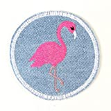Buegelbild rund Flamingo Jeans Flicken zum aufbügeln ø 7cm hellblau Aufbuegler Patch Buegelflicken