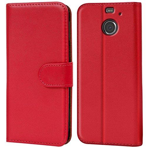 Verco HTC 10 Evo Hülle, Handyhülle für HTC 10 Evo Tasche PU Leder Flip Case Brieftasche - Rot