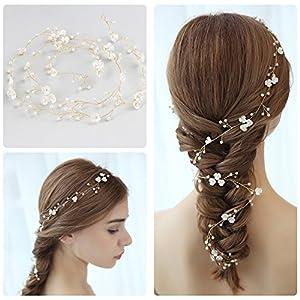 Damen Perle Hochzeit Haar Rebe, Mode Stirnband Haarspangen für Braut / 1M Mädchen Haarschmuck Zubehör Tragen Clips Schmuck Kopfschmuck für Brautjungfer