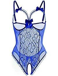 SamMoSon Bodies Mujer Sexy Vestir La Moda De Las Mujeres De La Atracción Sexual De Encaje Perspectiva con Ropa…