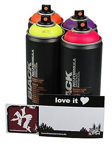 Sprühdosen Set Montana black Reihe fluoreszierende Neon Farben 4x400ml