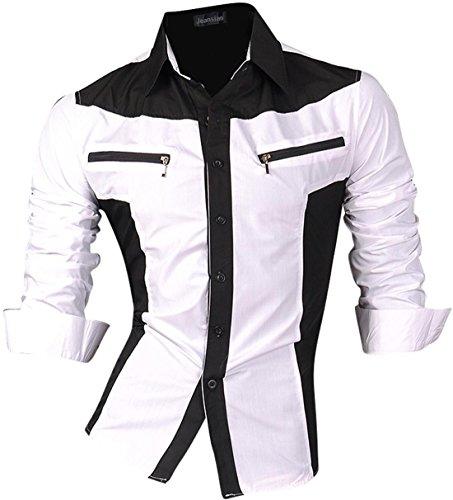 Jeansian De Manga Larga De Los Hombres De Moda Slim Fit Camisas Men Fashion Shirts Z018 White XXL