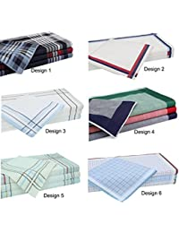 12 piezas pañuelos para hombres tamaño:43x43 cm, 100% algodón 6 diseños diferentes