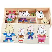 Bluestercool Cartoon 4 Rabbit Bear Dress Changing Jigsaw Puzzle Wooden Toy
