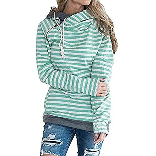 Newbestyle Femme Pulls Printemps Automne Sweats-shirt à Capuche Rayures Hoodies Loisir Pullover Dessus Vert