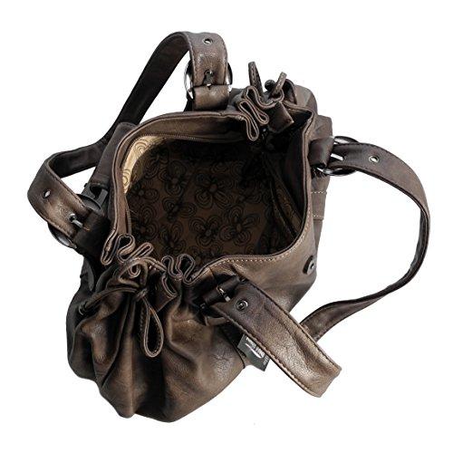 Schultertasche von Jennifer Jones - moderne Damen Handtasche Umhängetasche Shopper Henkeltasche Damentasche ( Taupe ) - präsentiert von ZMOKA® Braun