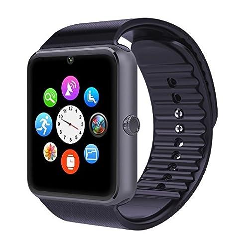 AsiaLONG Sport Smartwatch Bluetooth Smart Uhr Watch Fitnessarmband mit 1.54 Zoll Display / SIM Kartenslot / NFC / Schrittzähler / Schlafanalyse / Romte Caputure für IOS Android Smartphone (Schwarz)