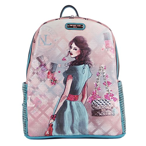 nicole-lee-daisy-print-backpack-blue-one-size