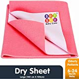 Bey Bee Waterproof Bed Protector Baby Care Sheet, Large, Salmon Rose (140 cm x 100 cm)