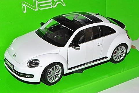 VW Volkswagen Beetle New Coupe Ab 2011 Weiss 1/24 Welly Modell Auto mit individiuellem Wunschkennzeichen