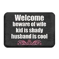 GDESFR Door mat WELCOME BEWARE OF WIFE Super Absorbent Anti-Slip Mat,Coral Carpet,Carpet Door Mat,Carpet,Carpet,Door Mat,40x60 Cm