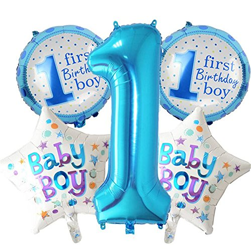 5pcs/set Happy Birthday Dekoration Aufblasbar Helium Folie Ballons, Baby Mädchen Jungen 1. Geburtstag Party Luftballons Set Supplies, Party Dusche Foto Requisiten Pink Blau Zahl rund Herz blau