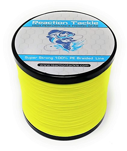 Reaktion Tackle High Performance Geflochtene Angelschnur (verschiedene Farben), fluoreszierendes gelb, 80LB (500 yards)