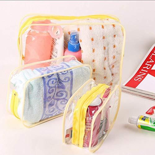 RosewineC 3 Stück Transparent Kosmetiktasche, Make Up Tasche, Kulturbeutel Reisetasche PVC Durchsichtig Reise Organizer Tasche Wasserdicht für Reisen geeignet(Gelb) - Tasche Nyx Make-up