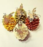 Honig Kerze Handgemacht aus Bienenwachs Motiv Zapfen, Tannenzapfen Bienenwachskerzen, Dekoration Beeswax Candles