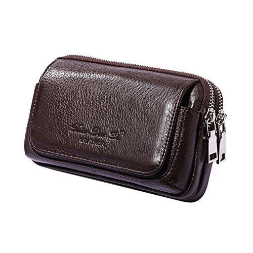 Aolvo - Cartuchera multifuncional, de piel auténtica de primera, ideal para iPhone 8 Plus, cartera con presilla para llevar en el cinturón, de cintura, ultrafina, cartera para hombre, color Brown