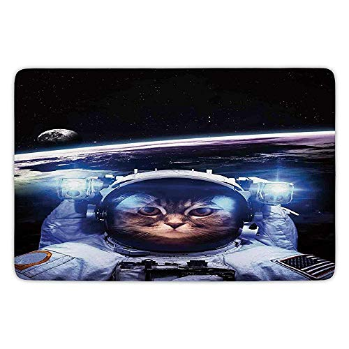 JIEKEIO Bathroom Bath Rug Kitchen Floor Mat Carpet,Cat,Funny Astronaut Cat Above Earth in Outer Space Explorer Kitty Mission Humor Art Image,Blue White,Flannel Microfiber Non-Slip Soft Absorbent
