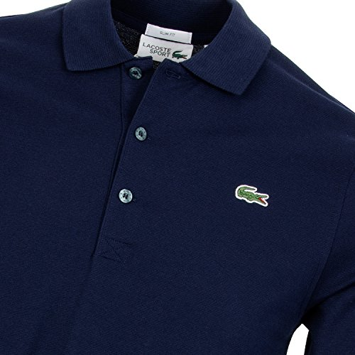 Lacoste YH9521 Sporliches Langarm Poloshirt, Long Sleeve Polo Shirt, Polohemd, super leichte Baumwolle, 100% Baumwolle Navy Blue (166)